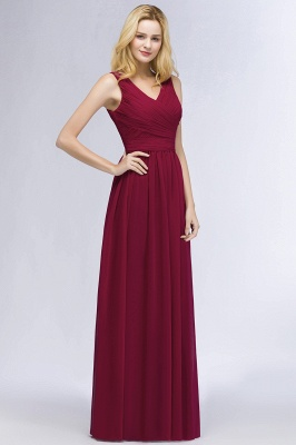 A-line Floor Length V-neck Sleeveless Ruffled Chiffon Bridesmaid Dresses_4