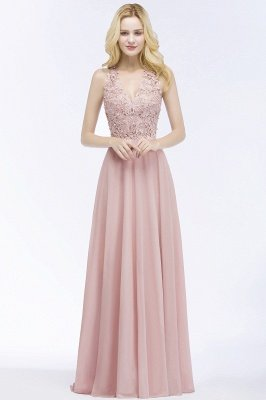 PAM | A-line V-neck Sleeveless Long Appliques Chiffon Bridesmaid Dresses_5