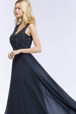 A-line  Appliques V-neck Sleeveless Floor-Length Bridesmaid Dresses with Crystals_4