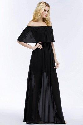 PANDORA | A-line Off-the-shoulder Long Black Chiffon Bridesmaid Dresses_4
