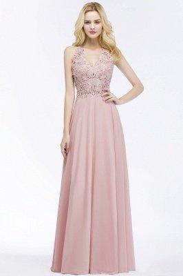 PAM | A-line V-neck Sleeveless Long Appliques Chiffon Bridesmaid Dresses_6