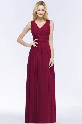 A-line Floor Length V-neck Sleeveless Ruffled Chiffon Bridesmaid Dresses_1