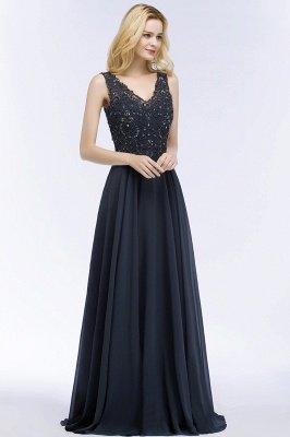 A-line  Appliques V-neck Sleeveless Floor-Length Bridesmaid Dresses with Crystals_3