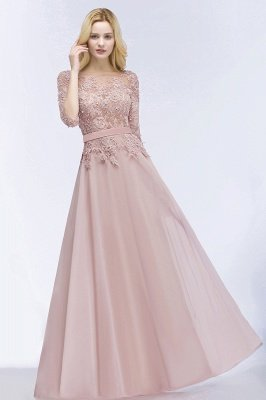 A-line  Appliques Jewel Half-Sleeves Floor-Length Bridesmaid Dresses with Sash_4