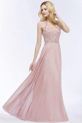 PAM | A-line V-neck Sleeveless Long Appliques Chiffon Bridesmaid Dresses_8