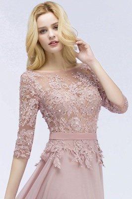 A-line  Appliques Jewel Half-Sleeves Floor-Length Bridesmaid Dresses with Sash_5