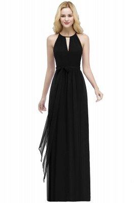 A-line Halter Floor Length Burgundy Bridesmaid Dress with Bow Sash_6