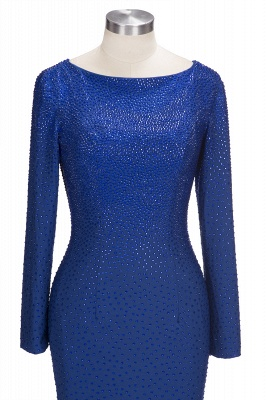Beading Knee-Length Long-Sleeves Sheath Royal-Blue Formal Dresses_4
