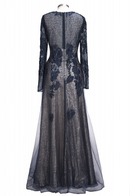 Black Scoop Long-sleeve Modern Lace-Appliques Evening Dress_3