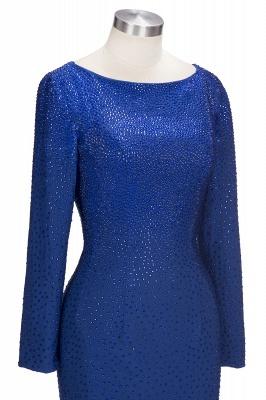 Beading Knee-Length Long-Sleeves Sheath Royal-Blue Formal Dresses_5