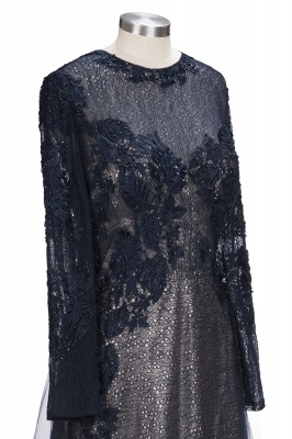 Black Scoop Long-sleeve Modern Lace-Appliques Evening Dress_6