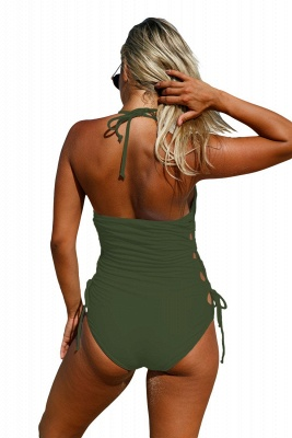 Halter Neckline Army Green Lace up Sides Monokini_4