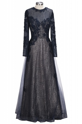 Black Scoop Long-sleeve Modern Lace-Appliques Evening Dress_1