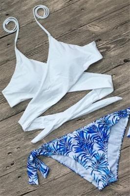Bandage Coloeful Deep-V Neck Sexy Bikini Set_1