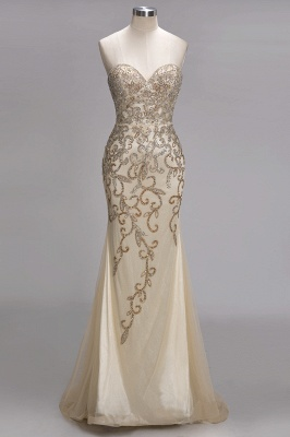 Luxury Crystals  Formal Beaded Backless Sweetheart Long Evening Gowns_1
