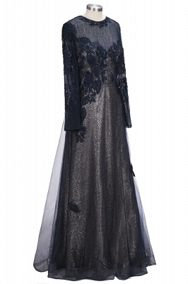 Black Scoop Long-sleeve Modern Lace-Appliques Evening Dress_4