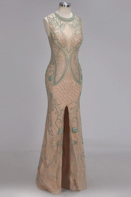 Glamorous Beadings Split Sleeveless Scoop Mermaid Prom Dress_4