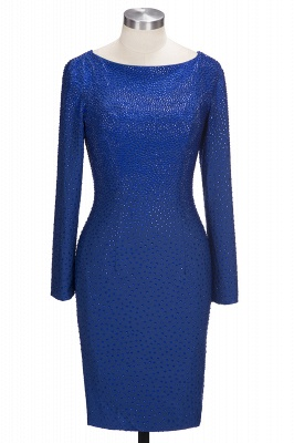 Beading Knee-Length Long-Sleeves Sheath Royal-Blue Formal Dresses_1