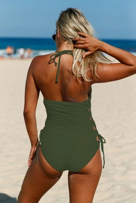 Halter Neckline Army Green Lace up Sides Monokini_3