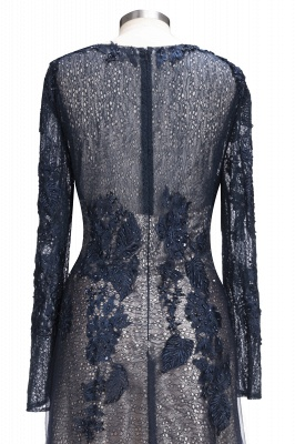 Black Scoop Long-sleeve Modern Lace-Appliques Evening Dress_5