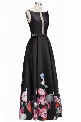 Black Floor-Length Sleeveless A-line Crystal Printing Evening Dress_4