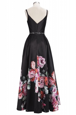 Black Floor-Length Sleeveless A-line Crystal Printing Evening Dress_3
