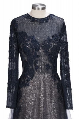 Black Scoop Long-sleeve Modern Lace-Appliques Evening Dress_7