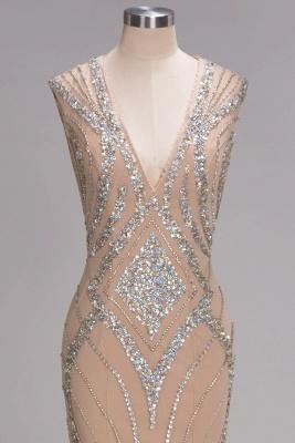 Sleeveless Crystal Beadings Gorgeous Mermaid Long V-Neck Prom Dress_5