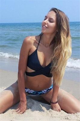 Bandage Coloeful Deep-V Neck Sexy Bikini Set_11