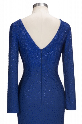 Beading Knee-Length Long-Sleeves Sheath Royal-Blue Formal Dresses_6