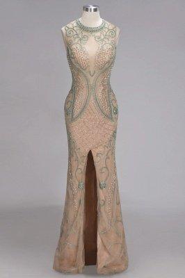 Glamorous Beadings Split Sleeveless Scoop Mermaid Prom Dress_1