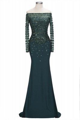 Sequins Mermaid Dark-Green off-the-Shoulder Long-Sleeves Evening Dress_1