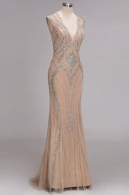 Sleeveless Crystal Beadings Gorgeous Mermaid Long V-Neck Prom Dress_4