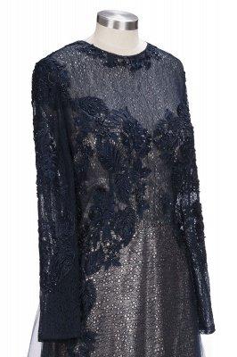 Black Scoop Long-sleeve Modern Lace-Appliques Evening Dress_6