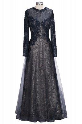 Black Scoop Long-sleeve Modern Lace-Appliques Evening Dress_1