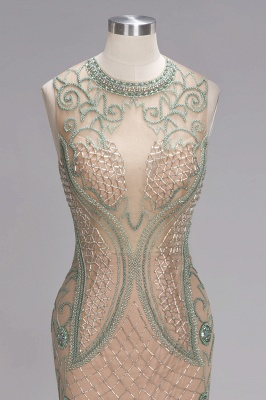 Glamorous Beadings Split Sleeveless Scoop Mermaid Prom Dress_5