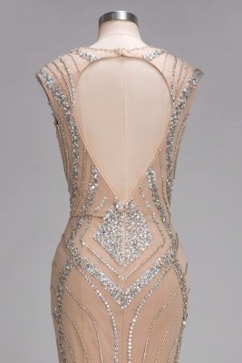 Sleeveless Crystal Beadings Gorgeous Mermaid Long V-Neck Prom Dress_6