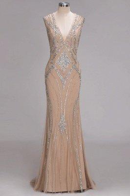 Sleeveless Crystal Beadings Gorgeous Mermaid Long V-Neck Prom Dress_1