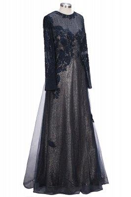 Black Scoop Long-sleeve Modern Lace-Appliques Evening Dress_4