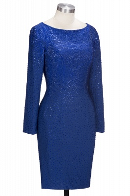 Beading Knee-Length Long-Sleeves Sheath Royal-Blue Formal Dresses_2
