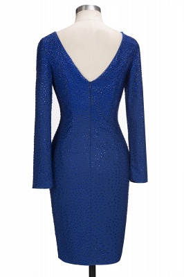 Beading Knee-Length Long-Sleeves Sheath Royal-Blue Formal Dresses_7
