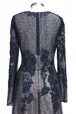 Black Scoop Long-sleeve Modern Lace-Appliques Evening Dress_5