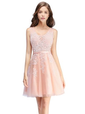 Cheap A-line Knee-length Tulle Prom Dress with Appliques in Stock_2