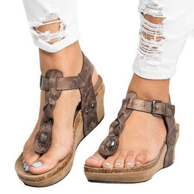 Summer Daily PU Braided Strap Sandal_11