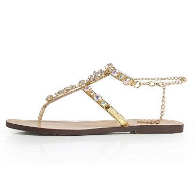 Beach Chain Daily Rhinestone Flip-flops Sandals_6