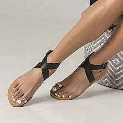Flat Heel Buckle Open Toe Sandals_4