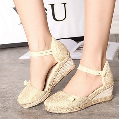 Espadrilles Button Daily Cloth Wedge Sandals_14