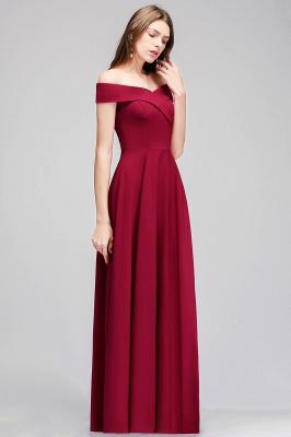 A-line Off-the-Shoulder Long Burgundy Evening Gowns_7