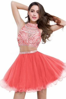 Cheap Sexy Crystal Beads Tulle Sleeveless Two-piece Short Prom Dress in Stock_1