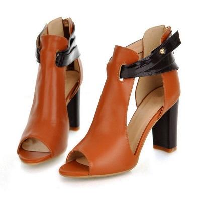 Hollow-out Peep Toe Zipper Summer Chunky Sandals_7